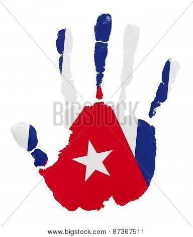 Handprints With Cuba Flag.isolated On White Background.