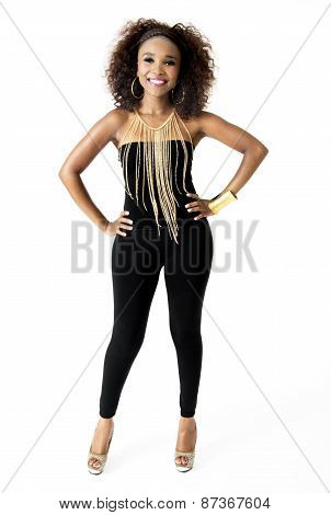 African Female Model Wearing Black with Gold Jewellery, Isolated on White Background