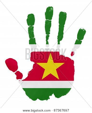 Handprints With Suriname Flag.isolated On White Background.