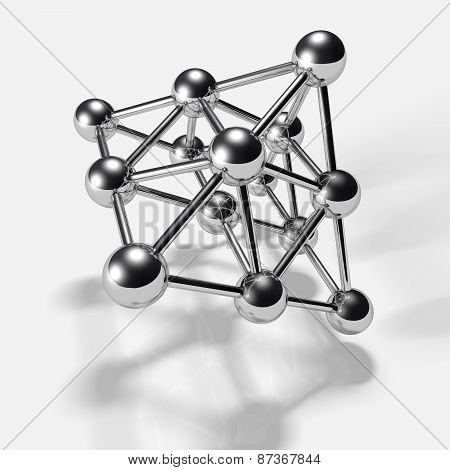 3D Chrome Spheres,connected To Each Other. The Symbol Of Connection. A Molecule Or A Net.