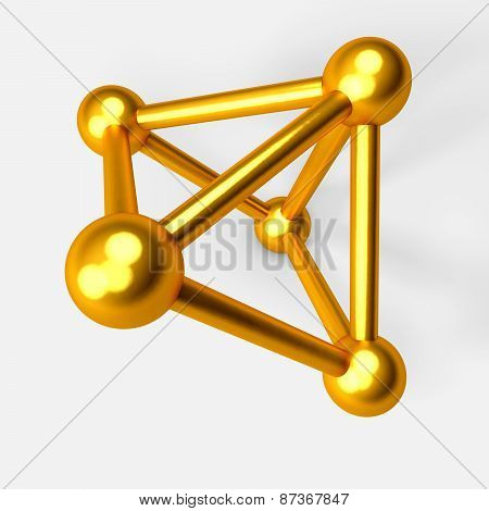 3D Gold Spheres,connected To Each Other. The Symbol Of Connection. A Molecule Or A Net.