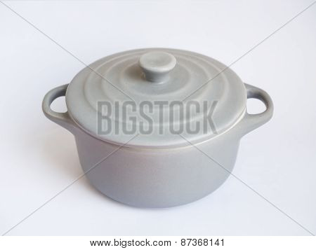 Grey earthenware bowl on white background