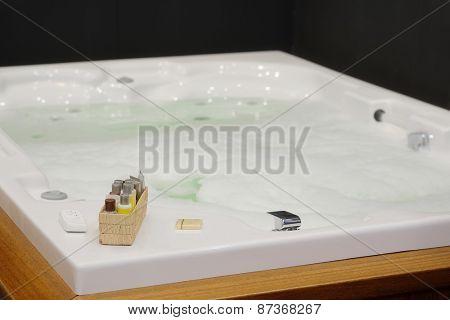 Foam bath in a jacuzzi