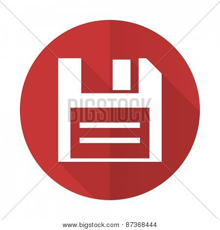 disk red flat icon data sign