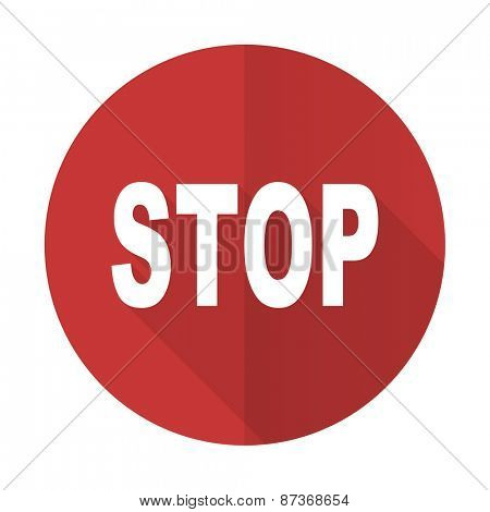 stop red flat icon