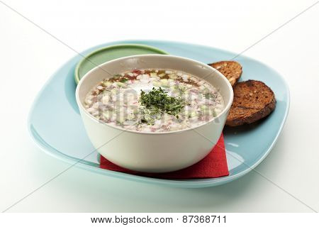 Okroshka - Cold Soup with Vegetables
