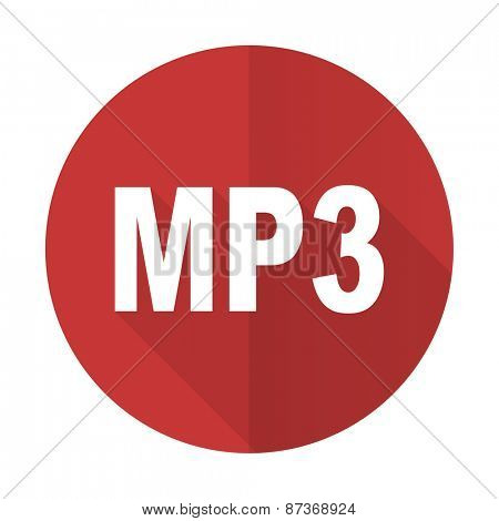 mp3 red flat icon