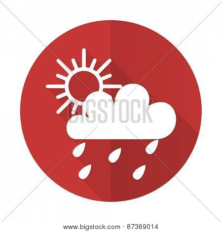 rain red flat icon waether forecast sign
