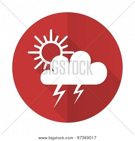 storm red flat icon waether forecast sign