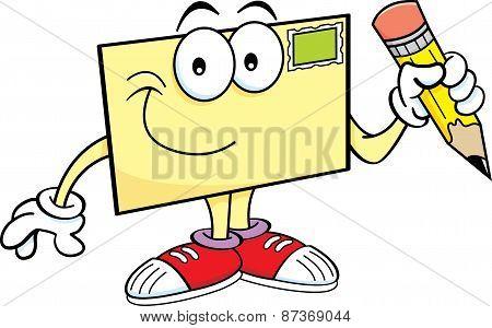 Cartoon envelope holding a pencil.
