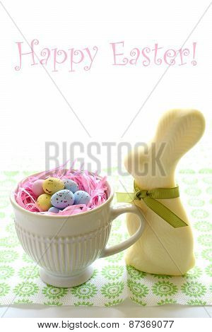 White Chocolate Bunny And Eggs