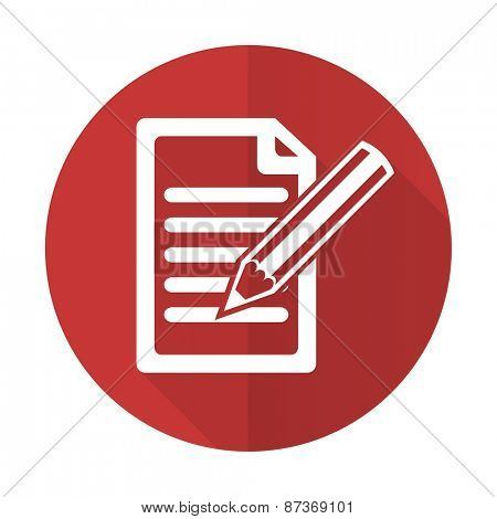subscribe red flat icon write sign