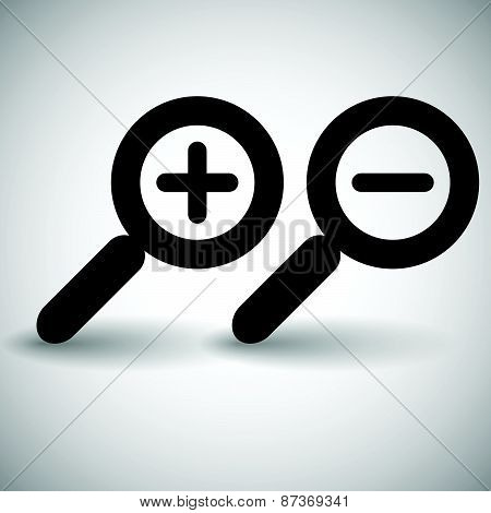 Simple Zoom In, Zoom Out, Magnifier Glass Icons, Symbols.