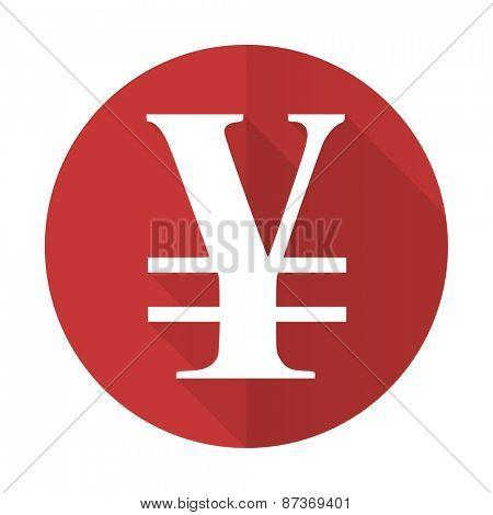 yen red flat icon