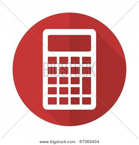 calculator red flat icon