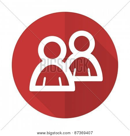 forum red flat icon people sign