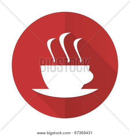 espresso red flat icon hot cup of caffee sign