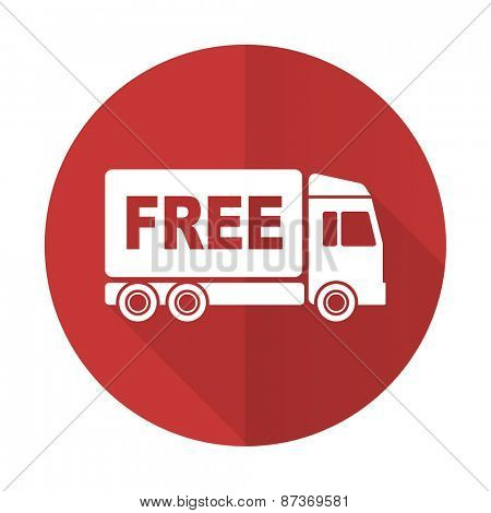 free delivery red flat icon transport sign