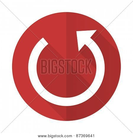rotate red flat icon reload sign