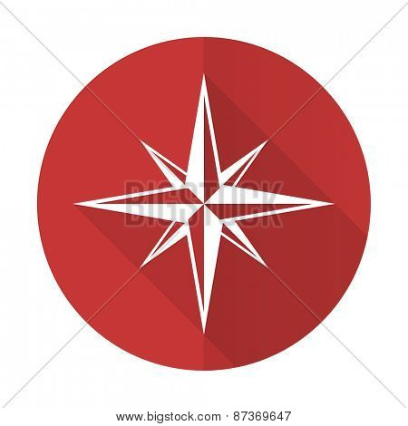 compass red flat icon
