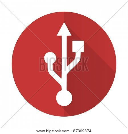 usb red flat icon flash memory sign