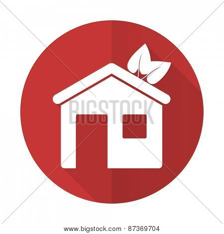 house red flat icon ecological home symbol