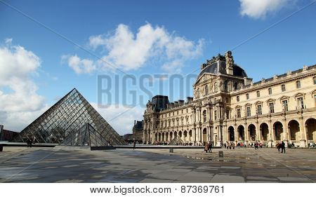 PARIS, FRANCE - MARCH 02, 2014:  The Louvres Museum is one of the world's largest museums and a historic monument in Paris, France.
