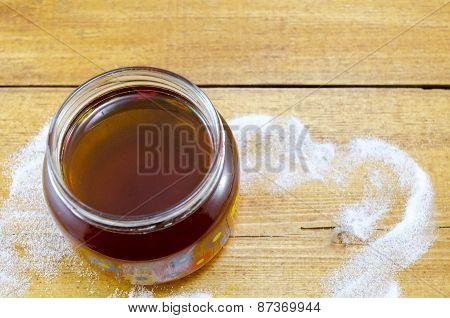 Jar Of Dark Honey On A Table