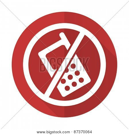 no phone red flat icon no calls sign