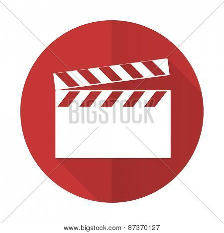 video red flat icon cinema sign
