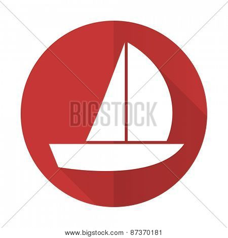yacht red flat icon sail sign