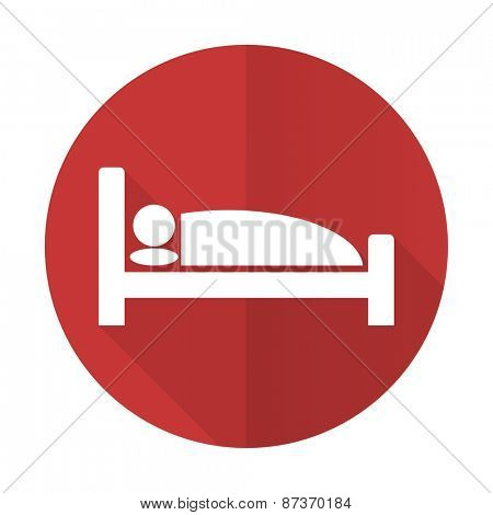 hotel red flat icon bed sign