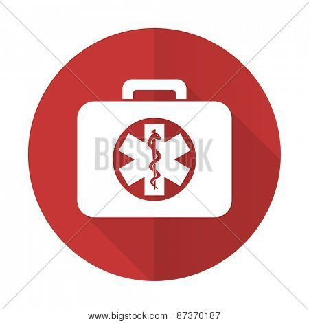 rescue kit red flat icon emergency sign