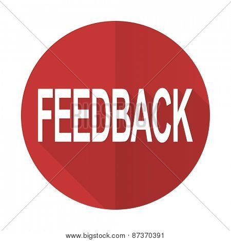 feedback red flat icon