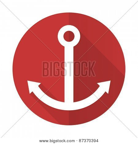 anchor red flat icon sail sign