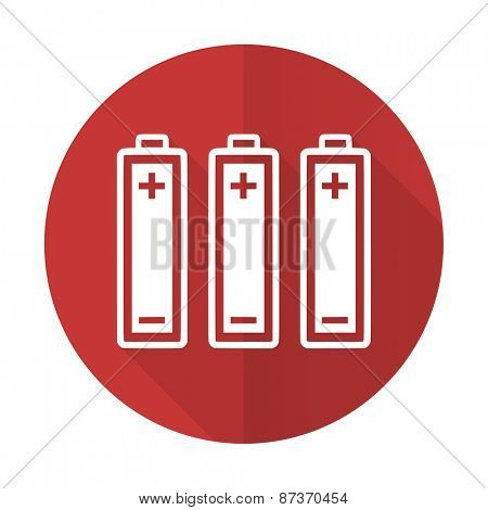 battery red flat icon power sign