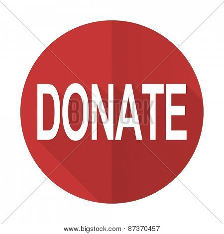 donate red flat icon