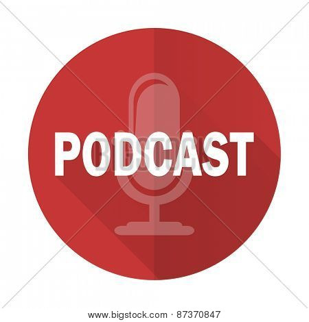podcast red flat icon