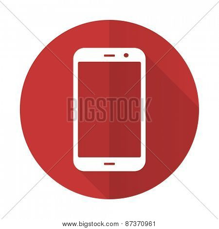 smartphone red flat icon phone sign