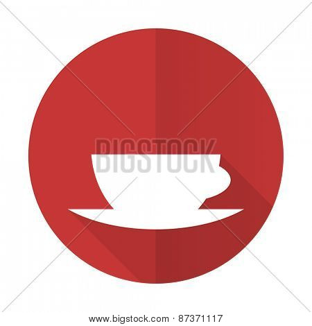 espresso red flat icon caffe cup sign