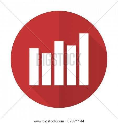 graph red flat icon bar graph sign