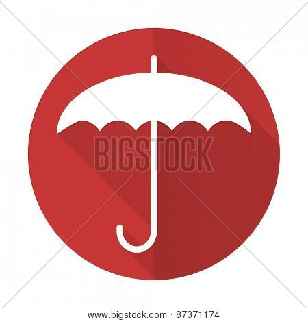 umbrella red flat icon protection sign
