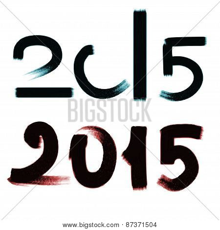 Happy New Year 2015. Vector Watercolor Illustration.