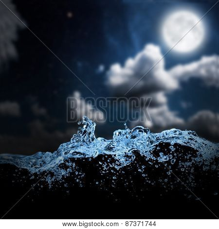 sea wave in the night sky. backgrounds