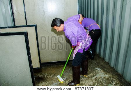 Cleaning Pubic Toilet
