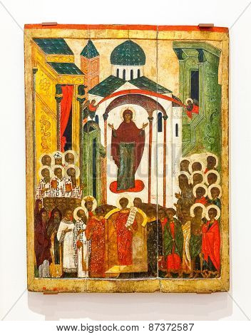 Antique Russian Orthodox Icon Intercession Of The Theotokos Painted On Wooden Board