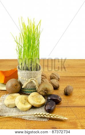 Young Green Wheat And Dried Fruit