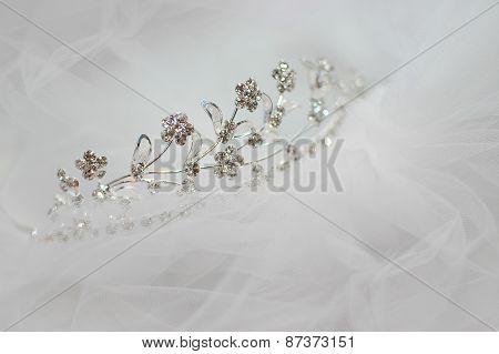 Wedding Bride Tiara Lying On A White Veil