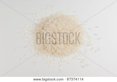 Heap Of White Long Grain Rice Isolated