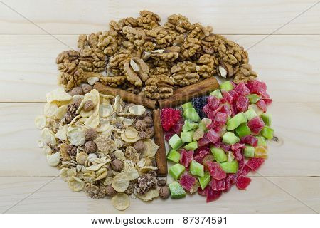 Muesli, Walnuts And Dried Fruit On Arranged A Table